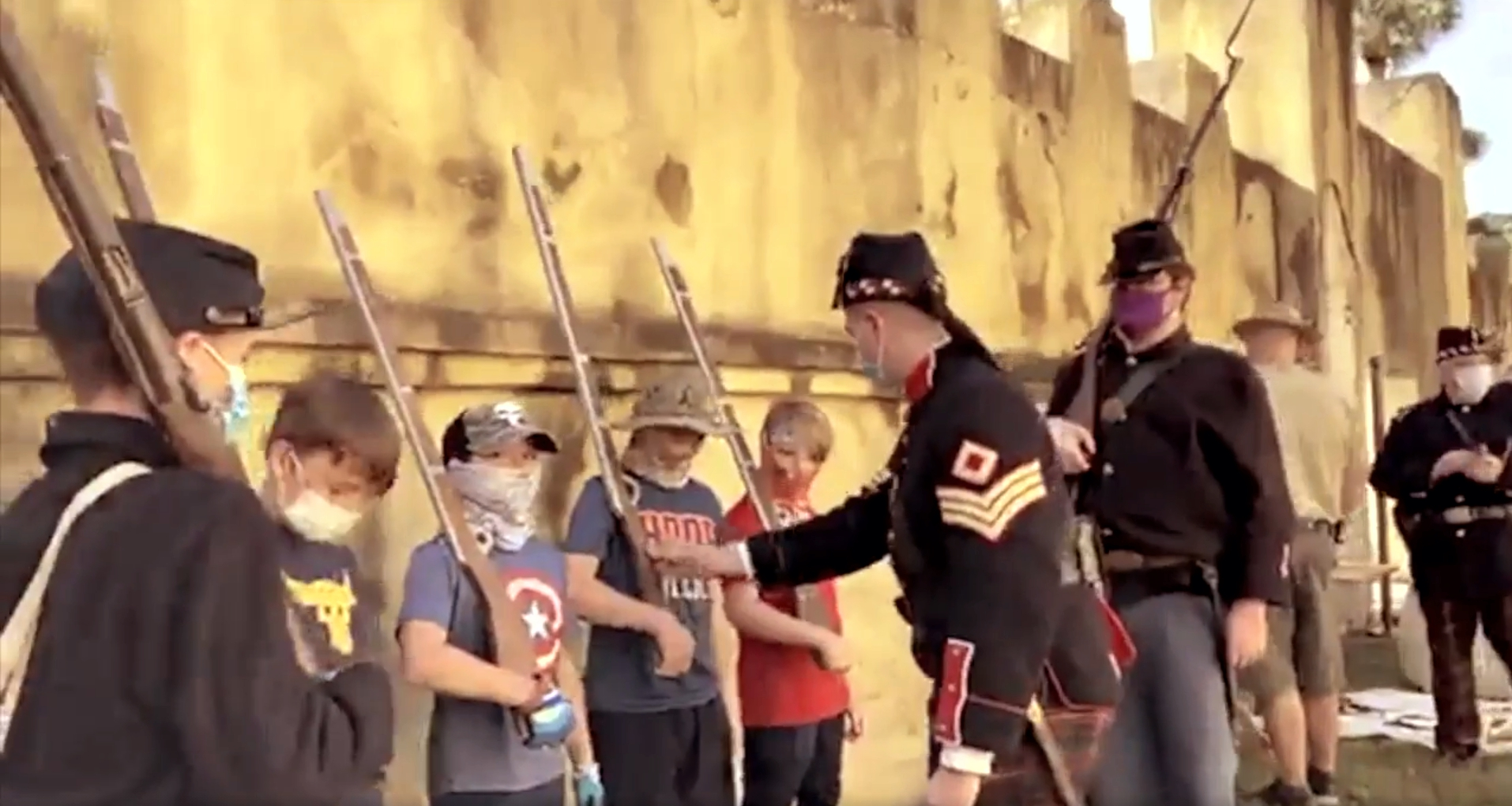 Young visitors experience Civil War era military drill